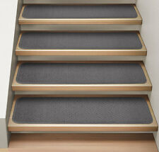 Set of 15 ATTACHABLE Carpet Stair Treads GRAY runner rugs