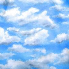 Clouds, Blue Summer Sky, Hint of Rain Nature Print by Riverwoods, Cotton Fabric