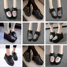 2015 NEW WOMEN LADIES FLAT PLATFORM WEDGE LACE UP CREEPERS PUNK GOTH SHOES BOOTS