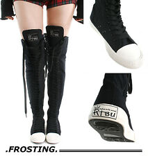 RTBU Ivory Frosting 35 Hole Punk Goth Thigh Hi Black Canvas Lace Up Sneaker Boot