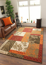 Cheap Warm Red Burnt Orange Brown Cream Cosy Patchwork Milan Family Area Rug