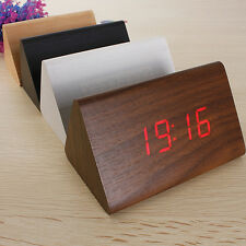 Wood Triangular LED Alarm Digital Desk Clock Wooden Thermometer USB/AAA Home