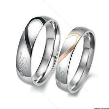 His and Her Love Heart Stainless Steel Couple Ring #B Wedding Bands Promise Ring
