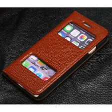 Hot Sale Leather Flip View Window Hard Stand Skin Case Cover For iPhone 6 / Plus