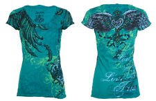 Archaic AFFLICTION Womens T-Shirt MI AMORE Heart Tattoo Biker Sinful S-XL $40 a
