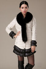 0430 Sheep Skin Leather Fox collar Down padded feather Fur Coat Jacket Trench