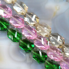 """18x12x9mm Pink Crystal Quartz Faceted Nugget 15"""" , pick your color."""