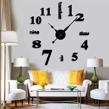 New Large Wall Clock DIY 3D Clocks Hour Home Decor Day Time Long Hands Black