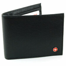 Genuine Leather Men's Wallet Alpine Swiss Bifold Trifold Hybrid Foldout ID Case