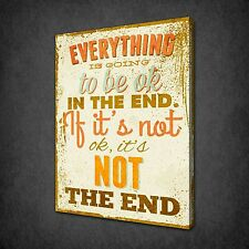 EVERYTHING IS GOING TO BE OK QUOTE CANVAS PRINT PICTURE WALL HANGING FREE UK P&P