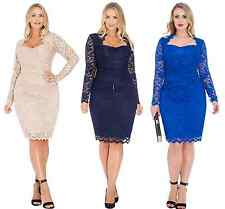 Goddiva Lace Scalloped Long Sleeve Cocktail Party Evening Dress Gemma Collins