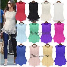 New Womens Ladies Sleeveless Embroidery Lace Tops Chiffon Shirt Blouse Size 6-20