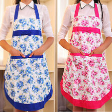 Women Dress Bowknot Restaurant Home Kitchen with Pocket Cooking Cotton Apron Bib