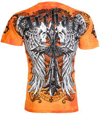 Archaic AFFLICTION Men T-Shirt LUSTROUS Skulls Wing Tattoo Biker UFC M-3XL $40 c