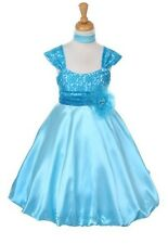 New Turquoise Lace Satin Flower Girls Dress Party Easter Christmas Pageant 1207D