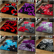 Black Red Blue Grey Purple Brown Floral Tulip Flowers Design Rugs - 2 Sizes