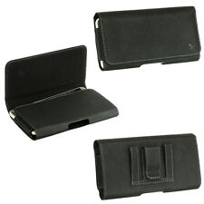 Lux Leather Black Pouch Case Belt Clip holster Cover For HTC Phones