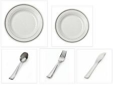 Wedding Reception China-Like Plastic Plates and Cutlery White/Silver Ivory/Gold