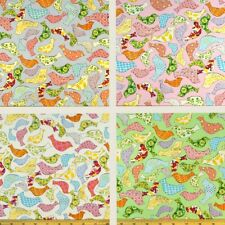 Little Tweeters Birds Floral Abstract Pattern 100% Cotton Poplin Fabric