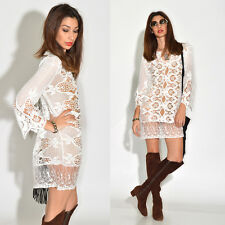VTG White Sheer Crochet Lace Scallop Hippie Boho Wedding Festival Mini Dress