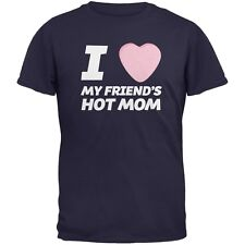 I Love My Friends Hot Mom Candy Heart Navy Adult T-Shirt
