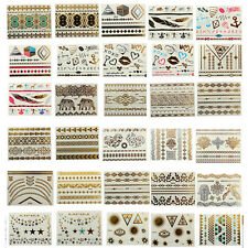 Jewelry Temporary Metallic Gold Silver Black Flash Tattoos Flash Inspired Sheet