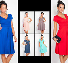 Women's Sexy V-Neck Stretchy Maternity Dress Tunic Short Sleeve Pleated Dress CL