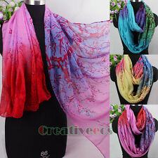 Fashion Women's Acacia Tree Print Ombre Type MultiColor Long/Infinity Scarf New