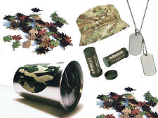 Kids Military Dress Up Soldier In A Tin Multicam  Bush Hat Dog Tags Camo Paint