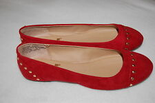 WOMENS BALLET FLATS Lei RED Mock Suede GOLD STUDS 6.5 7.5  8  8.5 10