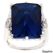 Oravo Sterling Silver Radiant-cut Gemstone and Cubic Zirconia Ring