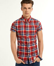 New Mens Superdry Dry Oxford Shirt Yale Red Check