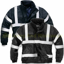 Mens Hi Viz Bomber Waterproof Padded Work Jacket SIA Guard Coat Reflective tape