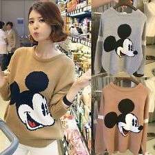 Women Crew Neck Mickey Mouse Head Pattern Loose Knitwear Sweater Pullover Jumper