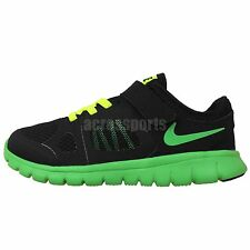 Nike Flex 2014 RN PSV Run Black Green Preschool Velcro Running Shoes