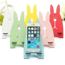 Universal Colorful Portable Wood Rabbit Cute Stand Holder For Mobile Phone MP3