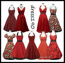 dress190 Red 50s Rockabilly Vintage Pinup Party Prom Cocktail Dress UK 8-26