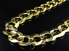 "Real 10K Yellow Gold Chiseled Curb Cuban Link Style Chain Necklace 20-30"" (13MM)"