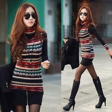 Women Retro Print Turtle Neck Long Sleeve T-shirt Fashion Thick Shirt Top Blouse