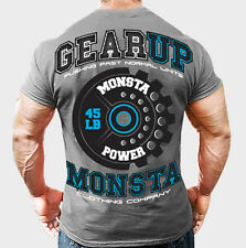 NEW Mens Workout MONSTA Bodybuilding Gym Clothing Gear Up Graphic T Shirt