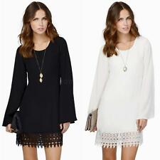 Womens Long Sleeve Chiffon Crochet Lace Hem Mini Dress Long Tops Blouse Shirt