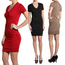 TheMogan Casual Short Sleeve V-neck Ruched Knit Sweater Mini Dress