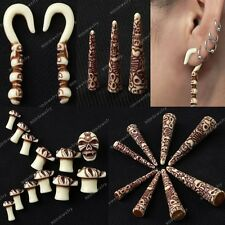 Pairs Punk Resin Carved Skull Taper Ear Plugs Expander Stretcher Pick Gauges