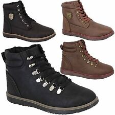 Mens Boots Firetrap Shoes High Ankle Leather Look Walking Hiking Lace Up Winter