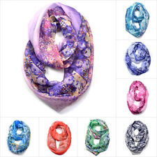 New Fashion Long Soft Scarves Neck Wrap Shawl Floral Print Gauzy Infinity Scarf