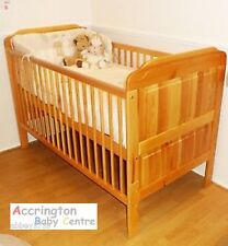 Little Babes Alex Stanley Solid Pine Cot Bed in Antique / White - With Mattress
