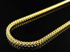 """Real 10K Yellow Gold Hollow Diamond Cut Franco Style Chain Necklace 22-38"""" (2MM)"""