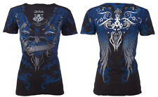 Archaic AFFLICTION Womens T-Shirt FLY HIGH Wings Tattoo Biker Sinful S-XL $40 a