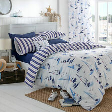 Catherine Lansfield Padstow Nautical White Stripe Duvet Quilt Cover Bedding Set