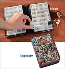 14 Day PIll Holder in Tapestry or Black - Looks like a Wallet or Day Planner